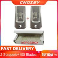 2pc de acero inoxidable 100 Uds cuchillas UV removedor de pegamento cuchillo para teléfono móvil pantalla LCD de cristal set de herramientas de limpieza 2E35 + E13