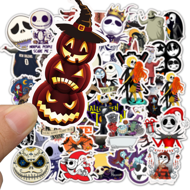 50pcs Nightmare Before Christmas Halloween Movie Sticker Pack Fans Anime Paster Cosplay Scrapbooking Diy Phone Laptop Decoration
