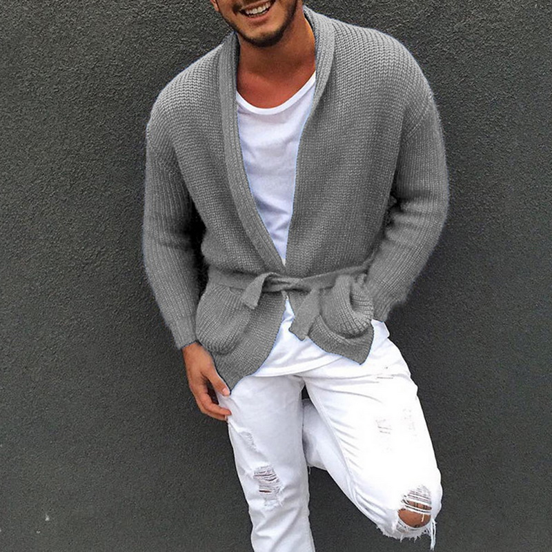 Autumn Slim Knitted Button Shawl-Collar Sweater 2019 New Coats Comfy Loose Long Cardigans For Men Open Front Solid Sweaters