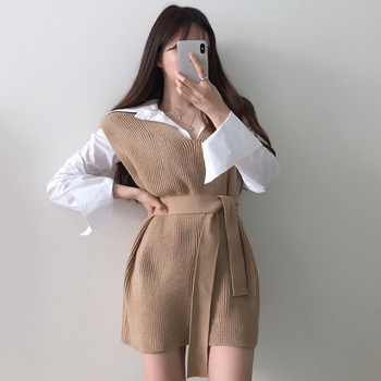 RICININA Knitted Vest Women Sweater Sleeveless V Neck Sashes Bandage Solid Elegant Sweaters Women Pullovers Jumpers Woman 2020 4