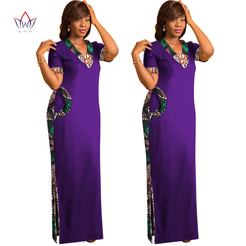 BRW African Dresses for Women Short Sleeve Maxi Straight Dress Print Dashiki Long WY1237