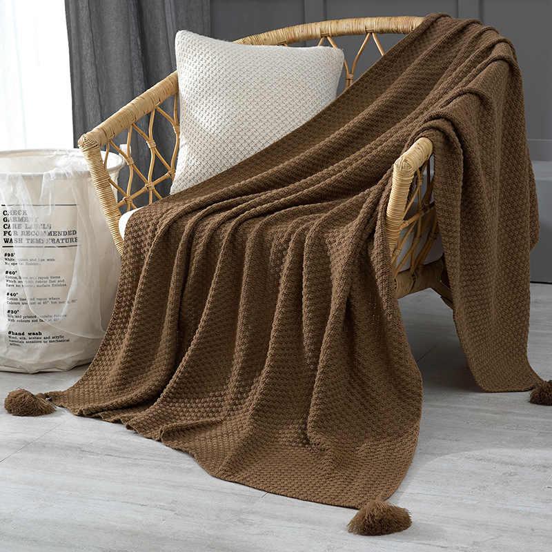 술과 함께 스레드 담요 솔리드 베이지 그레이 커피 침대 소파에 대한 담요를 던져 홈 섬유 패션 케이프 130x170cmKnitted 담요