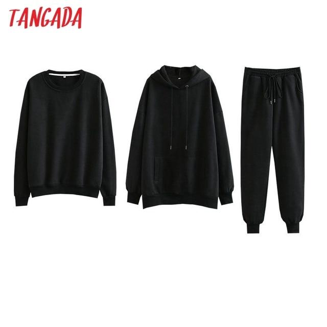 Tangada Women couple sweatshirt fleece 100% cotton amygreen oversized hood hoodies sweatshirts plus size SD60 5
