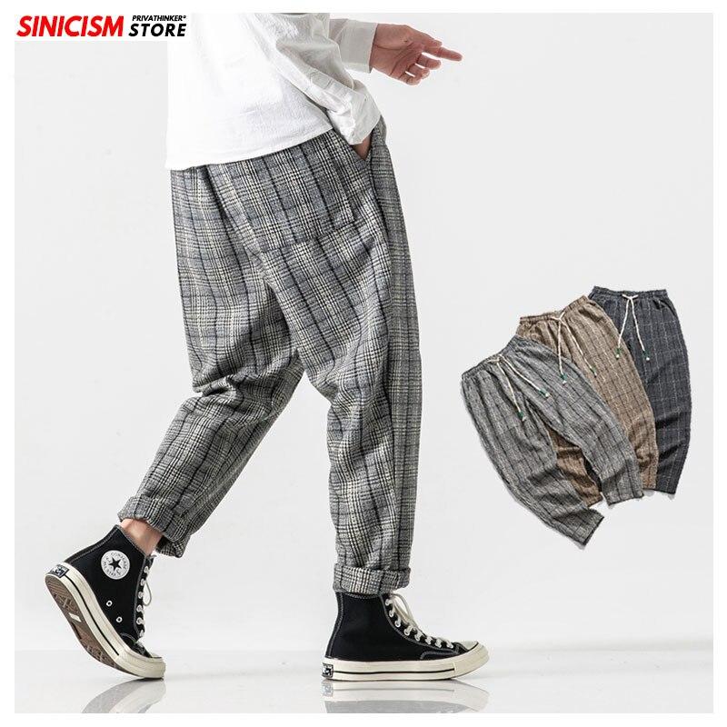 MrGoldenBowl Store/осенние мешковатые льняные шаровары в клетку, мужские полосатые спортивные штаны, японские свободные хлопковые брюки для отдыха