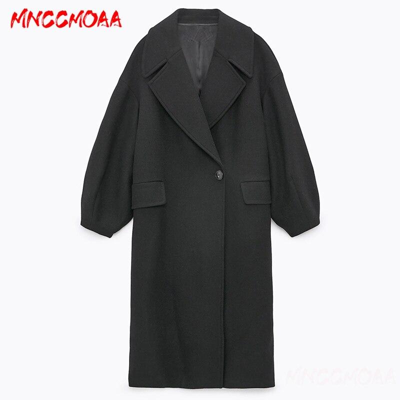 Зимнее модное черное шерстяное пальто 2020, Женская Повседневная однотонная свободная длинная куртка, верхняя одежда, женские элегантные пал...