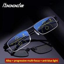 Iboode-gafas de lectura graduadas inteligentes para hombres y mujeres, anteojos de lectura con ajuste de medio Marco, antiluz azul, fácil de usar