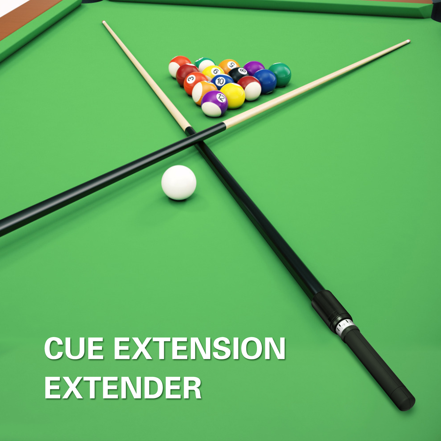 Black White Pool Cue Extension Extender Indoor Entertainment Telescopic Cue Extension for Billiard Pool Cues
