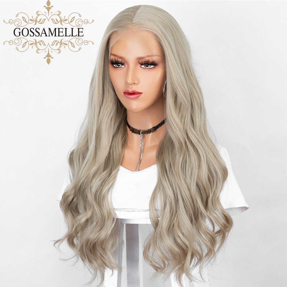 Gossamelle Ash Blonde Wig Panjang Gelombang Sintetis Wig untuk Wanita 13 × 6 Lace Front Wig Cosplay Wig Tahan Panas serat Rambut