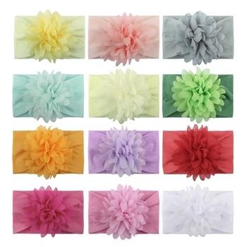 12 Pcs Lovely Baby Headbands Turban Flower Newborn Elastic Kids Toddler Hair Band Accessories