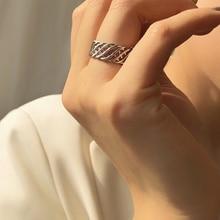 ¡Nuevo! anillos HUANZHI de cadena varias capas de Metal mate con diseño minimalista vintage, anillos de apertura geométricos de malla hueca para mujer