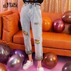 ELFSACK синие однотонные радужные рваные потертые женские джинсы 2019 осенние Лоскутные корейские Стильные повседневные офисные женские штаны ...