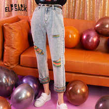 ELFSACK Blue Solid Rainbow Ripped Washed Women Jeans 2019 Autumn Patchwork Korean Style Casual Office Ladies Daily Trousers