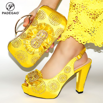 Yellow Color 2020 Decorated With Rhinestone Shoes And Bag Set Nigerian Design Matching Shoes And Bag Set for Wedding