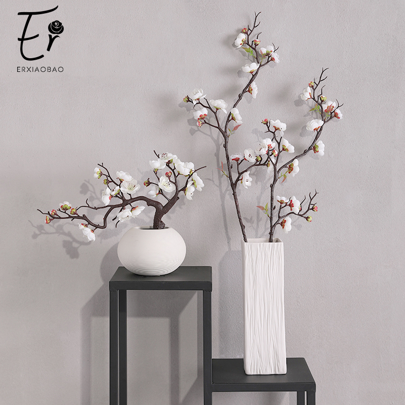 Erxiaobao Pink White Red Wintersweet Plum Blossom Artificial Flowers Fake Cherry Silk Plants Party Wedding Home Decor(China)