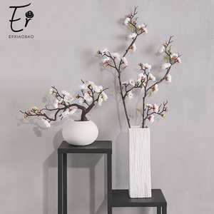 Image 1 - Erxiaobao الوردي الأبيض الأحمر Wintersweet زهر البرقوق الزهور الاصطناعية وهمية الكرز الحرير النباتات حفلة ديكور منزلي للزفاف