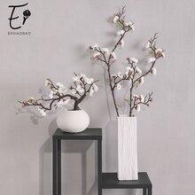 Erxiaobao 핑크 화이트 레드 wintersweet 매화 꽃 인공 꽃 가짜 체리 실크 식물 파티 웨딩 홈 장식