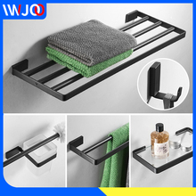 Towel Holder Black Towel Bar Stainless Steel Towel Rack Hanging Holder Coat Hook Bathroom Shelf Glass Toilet Brush Holder Set stainless steel towel bar sets brushed gold towel holder towel rack hanging holder toilet paper holder coat hook bathroom shelf