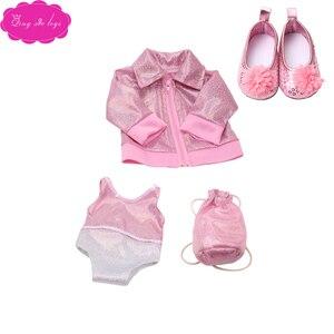 18 дюймов, с круглым вырезом, для девочек Одежда для детей спортивный костюм, футболка + юбка, комплект с обувью американская платье для новор...