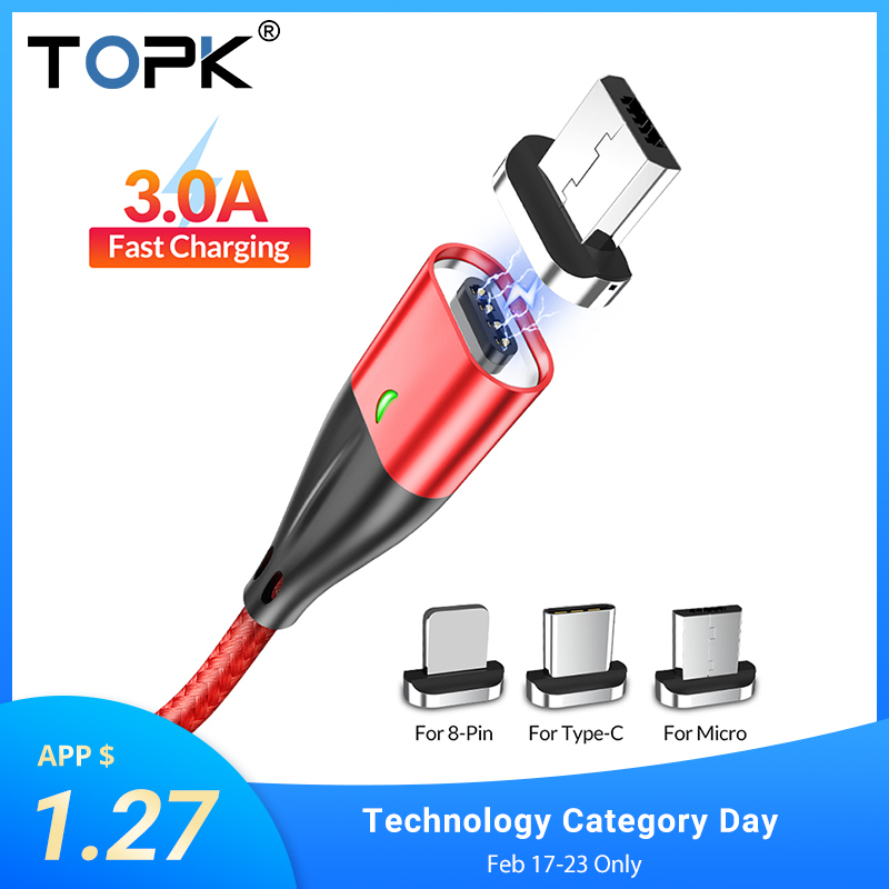 TOPK 1M 2M USB Magnetic Cable USB Type C & Micro USB Cable Fast Charging USBC Cable For IPhone Samsung Xiaomi Redmi Note 7 Mi A2