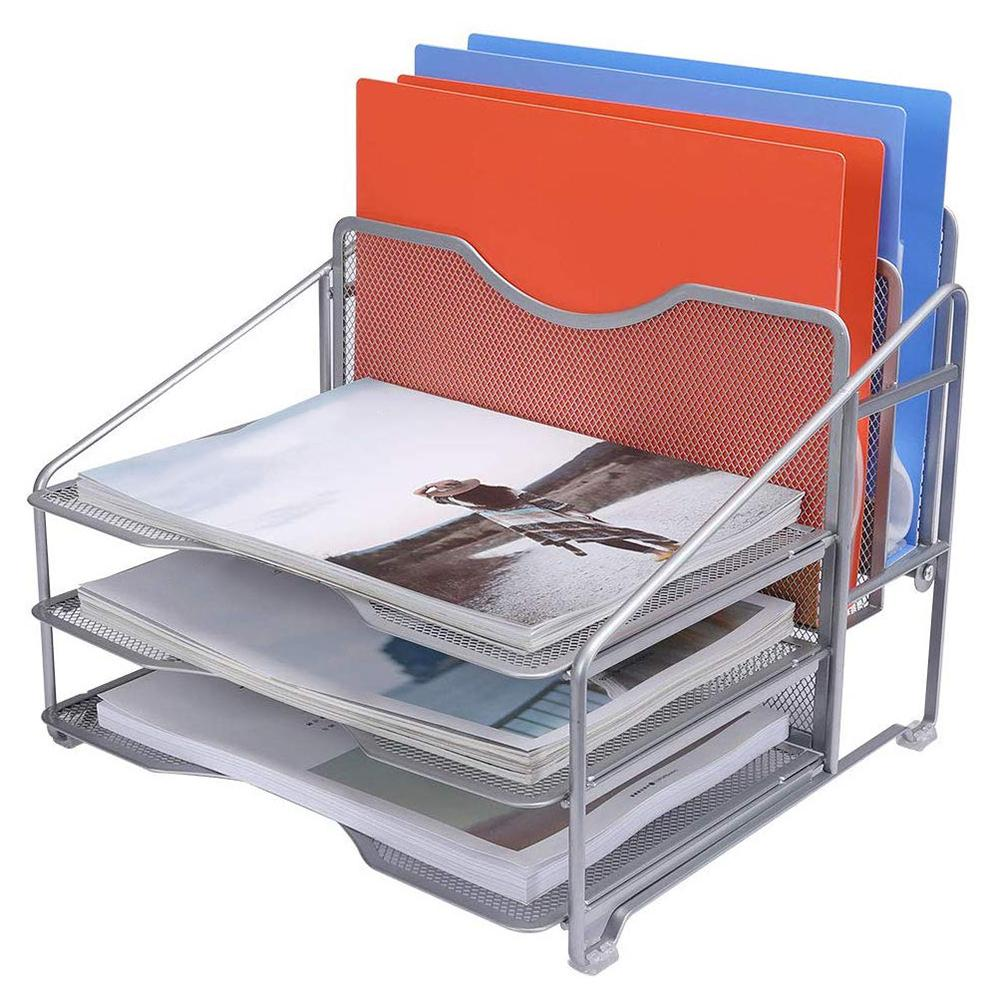 Desk Organizer File Folder Rack Desktop Document Letter Tray For Folders Mail Stationary Desk Accessories Removable Storage