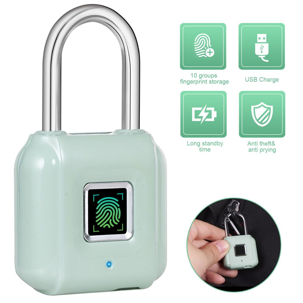 KERUI Smart Fingerprint Padlock USB Rechargeable Mini Size Finger Touch Lock For Door Cabinets Gym Locker Bikes