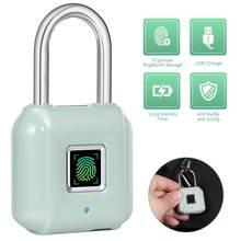KERUI-candado de huella dactilar inteligente, candado de huella dactilar inteligente recargable por USB, cerradura táctil de tamaño Mini para armarios de puerta, casilleros de gimnasio, bicicletas