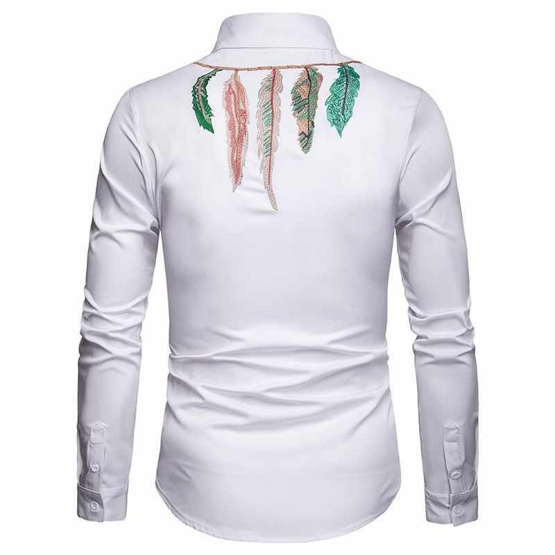 2020 nuevo otoño camisas bordadas de un solo pecho para hombres camisas elegantes de manga larga de ajuste Delgado moda Casual negro blanco superior ropa
