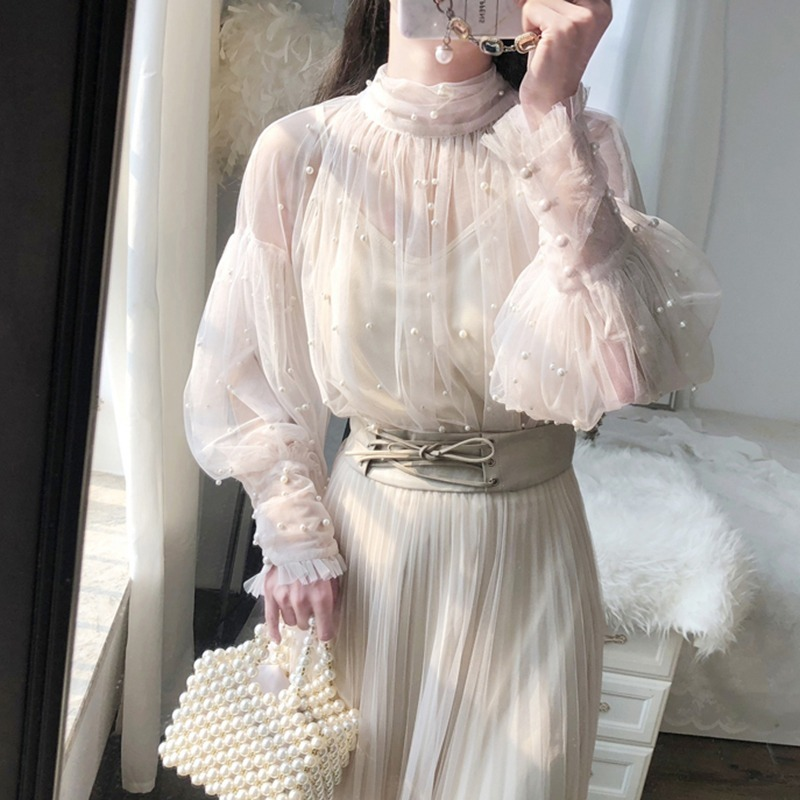 Spring Beading Mesh Blouses Women Sweet Lantern Sleeve Pearls Gauze Blouses Ladies Elegant Shirt Tops Stand Collar Chiffon S-2XL 8