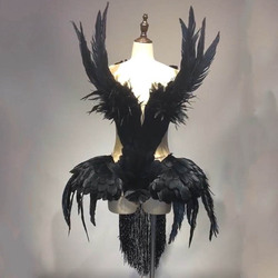 Défilé de mode cygne plume robe costumes danse performance ailes blanc cygne plume carnaval costumes