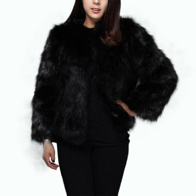 Abrigo de piel imitación manga tres cuartos elegante Color sólido para mujer