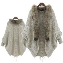 JAYCOSIN, модное женское пальто с воротником из искусственного меха, рукав летучая мышь, Свободный Повседневный теплый кардиган, шаль, свитер на осень и зиму, Женский Топ 911