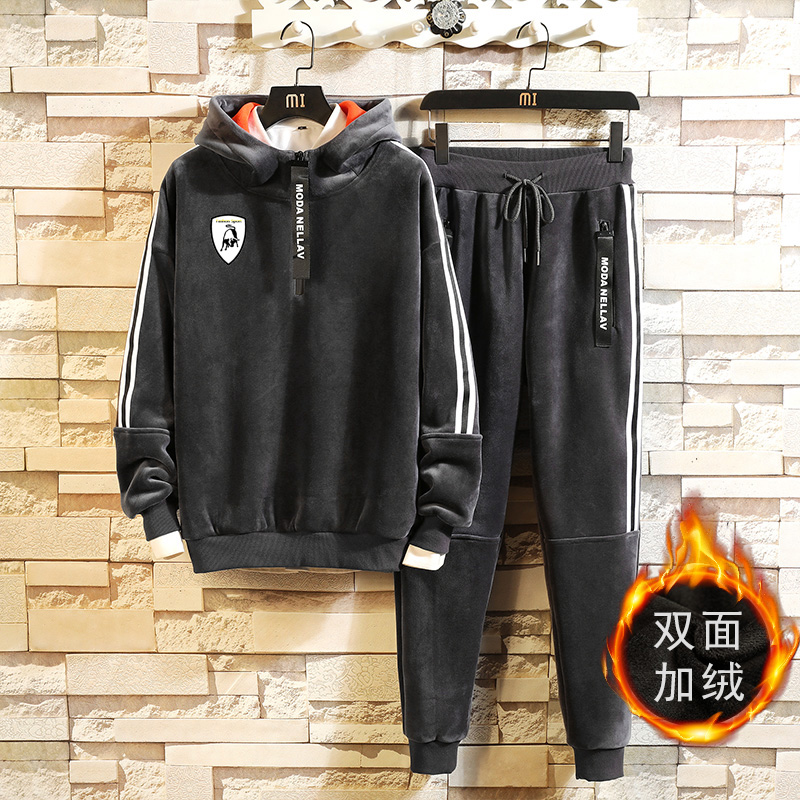 Men Velour  Hoodies  Outdoor Gym TrackSuit Sport Sweats Jacket Coat Bottom Top Suit Trousers Pants Track Suit Outfit