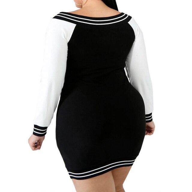 5XL Plus Size Bodycon Dress Sexy Deep V Zipper Dress Women Stripe Long Sleeve Mini Dress Elegant Slim Fit Club Dress vestido D30 2