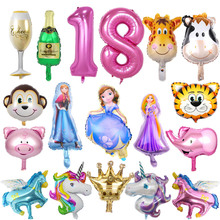 Hot Cartoon balloon unicorn princess minnie mouse Aluminum balloon party Christmas balloon decoration supplies cheap Cartoon Amnimal Antler Gesture Cartoon Figure CROWN Letter Oval ROUND FRUIT Aluminium Foil Yes( 50 Pcs) Wedding Engagement