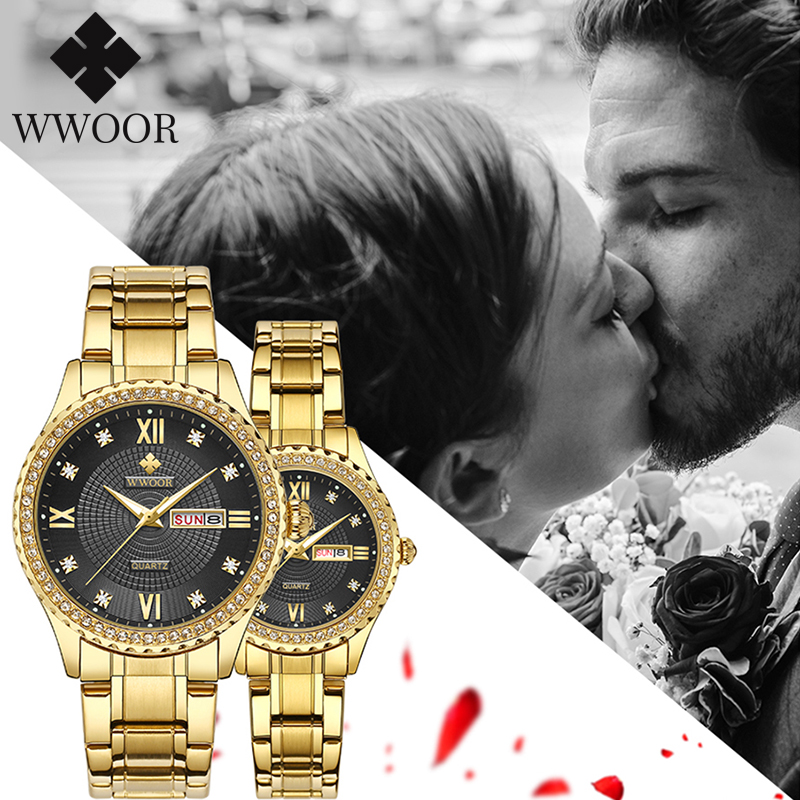 WWOOR Luxury Diamond Gold Couple Watches + Box Pair Men And Women Fashion Quartz Steel Band Lover Watch Pair Waterproof Date