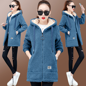 2019 Winter Faux Fur Teddy Coat Women Fashion hooded Add velvet to thicken zipper jacket fashionable and casual plus-size coat 1