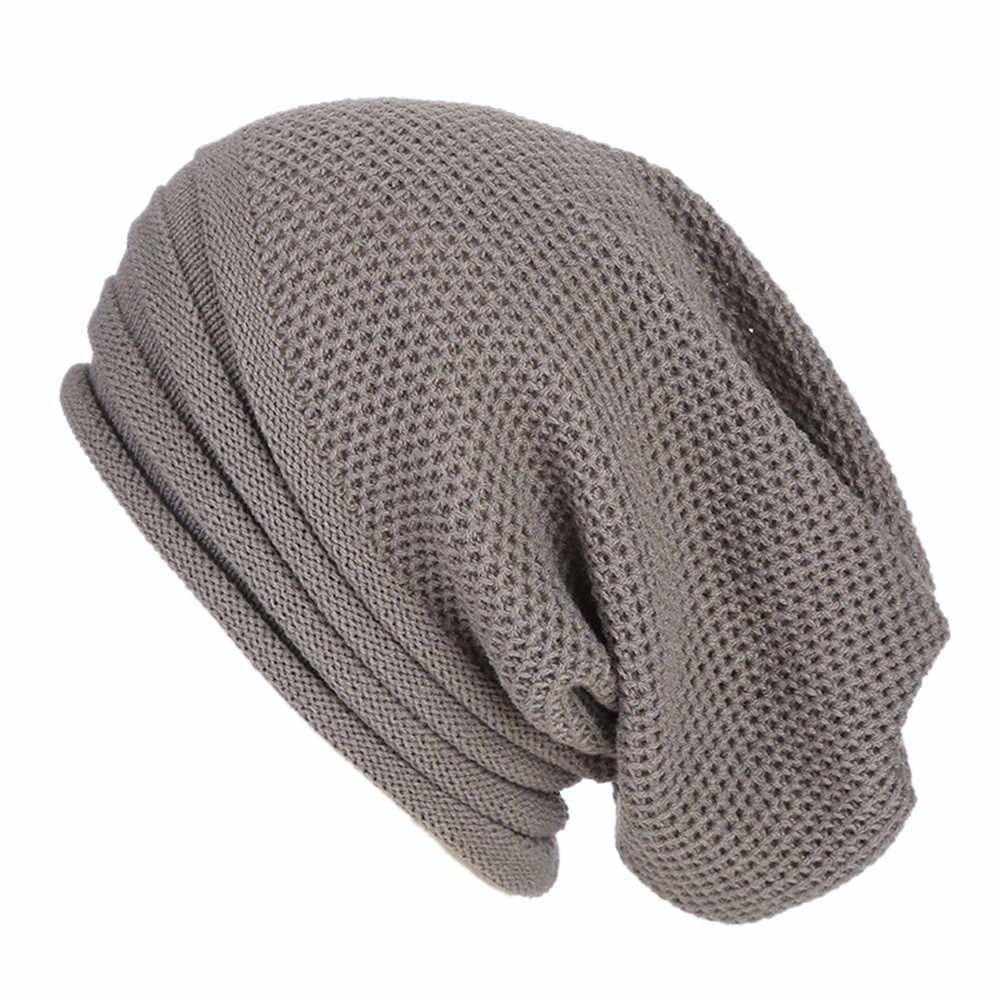 ผู้หญิงผู้ชาย Baggy อบอุ่นโครเชต์ฤดูหนาวถักหมวก Beanie Skull Slouchy หมวกหมวก 10.2