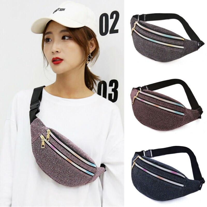2019 Newest Hot Woman Man Double Zippers Chest Bag Portable Glitter Waist Fanny Pack Belt Bag Travel Hip Bum Bag Small Purse