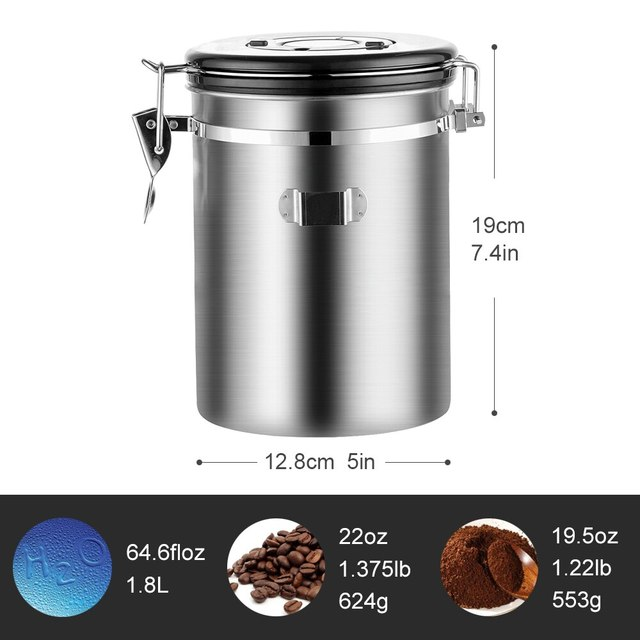 Stainless Steel Airtight Sealed Canister With Spoon Coffee Flour Sugar Container Holder Can Storage Bottles Jars For Coffee Bean 2
