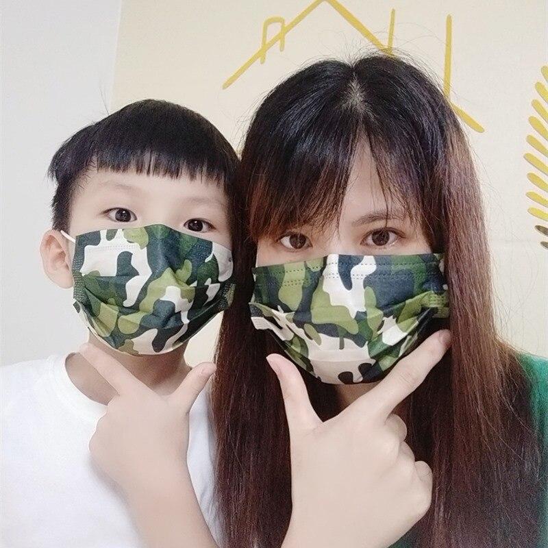 Камуфляжная маска с милым принтом для детей, Пылезащитная маска для здоровья, Детская Хлопковая Тканевая маска для лица для мальчиков и дев...