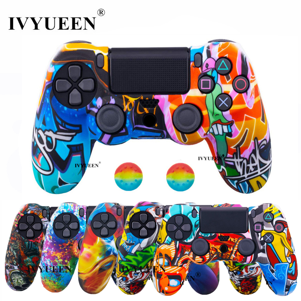 IVYUEEN 44 Colors Silicone Camo Protective Skin <font><b>Case</b></font> For Sony Dualshock 4 <font><b>PS4</b></font> DS4 Pro Slim <font><b>Controller</b></font> Thumb Grips Joystick Caps image