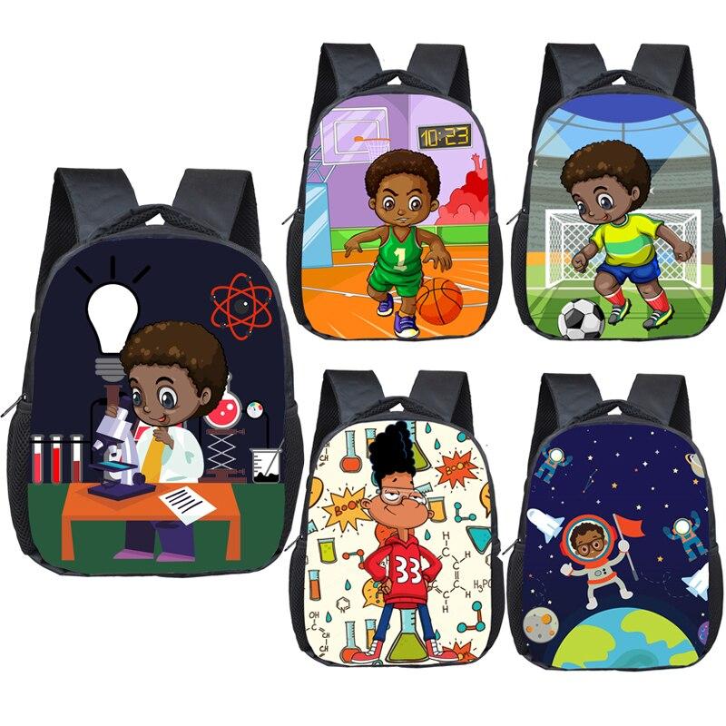 Cartoon Africa American Boys Print Children School Bags Brown Afro Science Boys Kindergarten Backpack Small Toddler Bag Bookbag