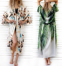 Women Beach Cover Up Leaf Print Cotton Long Bikini Dresses Seaside Holiday Dress 2019 Loose Tunic Cardigan Beachwear Bathrobe