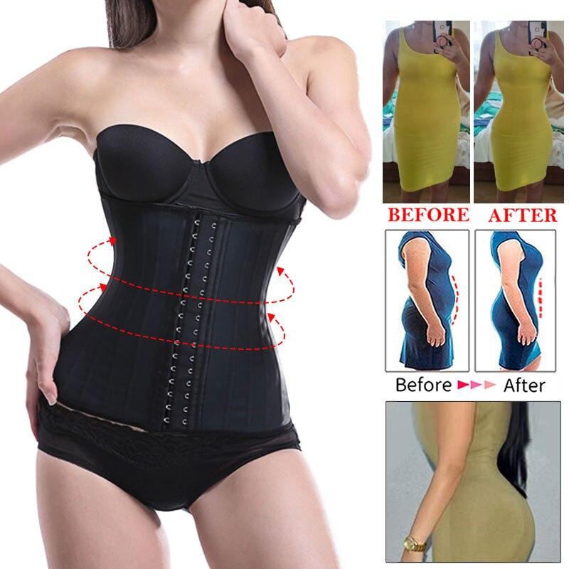 25 ossa d'acciaio allenatore in vita lattice Slim Body Shaper Cincher corsetto cintura dimagrante modellazione cinturino Shaper intimo corsetto dimagrante 2