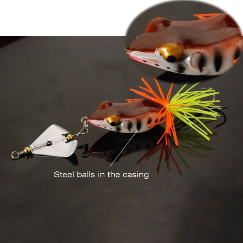1PCS Fishing Lure With Propeller Large Noise Isca Frogs Lure  Pesca Frogs Sinking Snakehead  Fishing Bait 135mm 9g ZJ 3