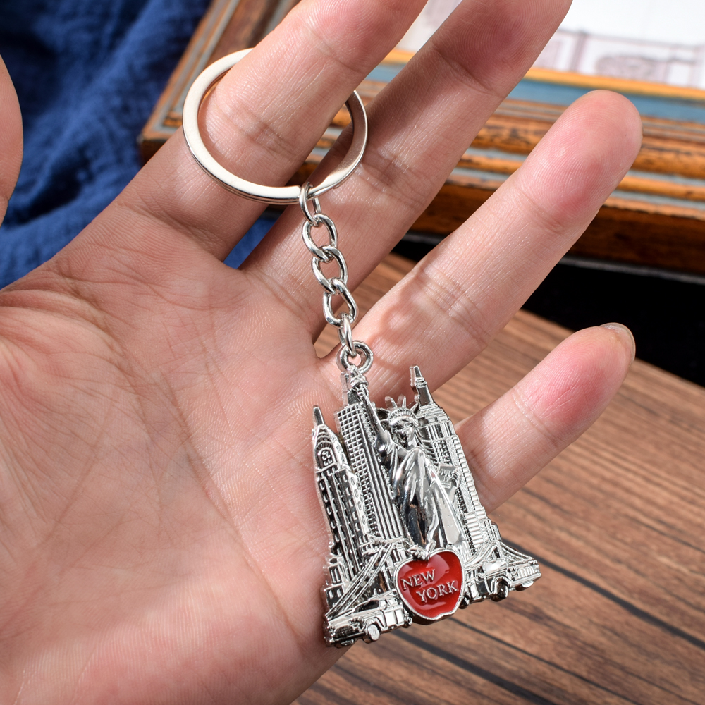 Vicney US New York Key Chain Souvenirs For Friend Taxi,Empire State Building,Statue Of Liberty,Chrysler Building Keychain