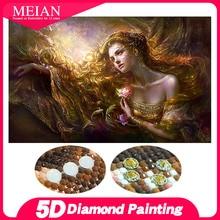 Meian خاص على شكل الماس التطريز الجمال سيدة 5D ألواح تلوين حرفية لامعة غرزة ثلاثية الأبعاد الماس الفسيفساء الحفر الكامل أدوات منزلية