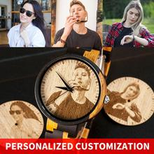 Personalità incisione personalizza orologio uomo BOBO BIRD clienti foto personalizzazione orologi in legno regalo per lui per reloj mujer