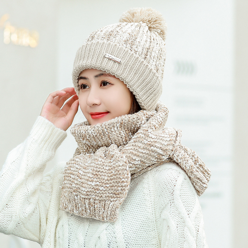 Winter Hat And Scarf Set Women Classic Plus Thick Unisex Kitted Winter Warm Hats Scarves Winter Accessories