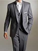 New Classic Men's Suit Smolking Noivo Terno Slim Fit Easculino Evening Suits For Men Grey Tuxedos Groomsmen Best Man Bridegroom